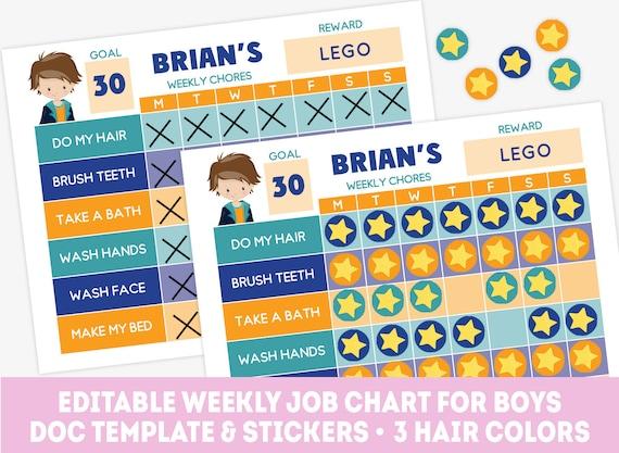 Boy chore chart template editable kids behavior chart weekly – Kids Behavior Chart Template