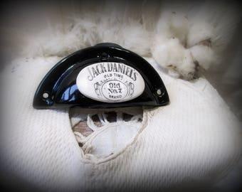 """1 handle shell: """"Jack Daniel's"""" black enamelled terracotta (homemade)"""