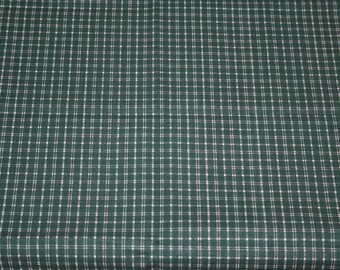 Fabric Remnants, Green Plaid Fabric, 40in by 20in, Two Pieces, 100% Cotton Fabric; Quilting Fabric, Quilt Pieces, Fabric Destash