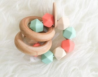 SUMMER SALE Handmade Teething Toy Baby Teether Unique Baby Toy Teether Toy Wooden Teether Wooden Toy Silicone Teether Salmon and Mint teethe