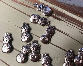 Snowman charms silver tone Christmas charms DIY lot of 12 Holiday Jewelry making supplies