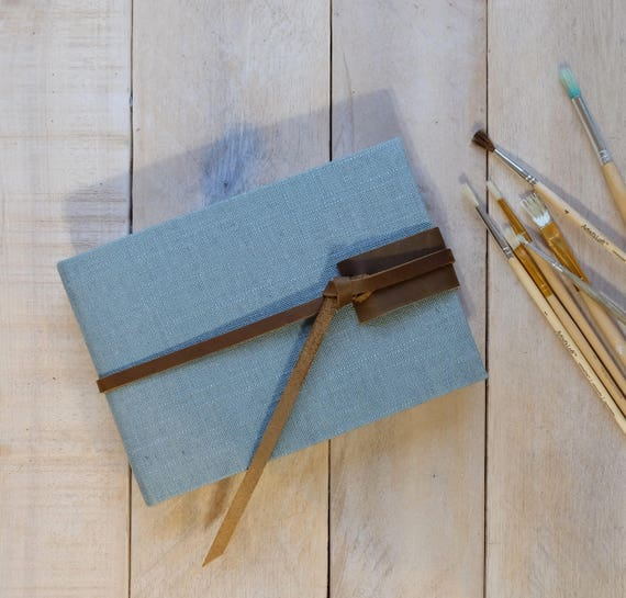 Linen and Leather Classic Watercolor Sketchbook - Personalized - Sky Linen Color