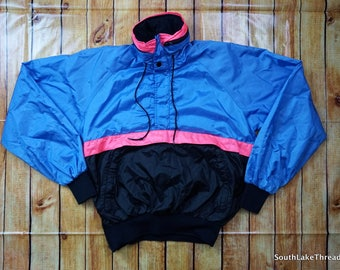 Vintage Seattle Blues Windbreaker, Vintage 80s Jacket, 80s Windbreaker, Blue/Black/Pink - Women's Medium - Excellent Shape, 80s Fashion