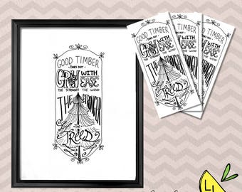 LDS Art, Good Timber Quote, Poster Bundle, Black and White, Printable Art, Hand drawn, Coloring Page, Cute Bookmarks, Thomas S. Monson,