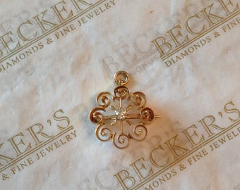 Antique Victorian 18k yg Swirl Filigree Pin and Pendant Combination with an Old Mine Cut Diamond .12 ct J-SI2