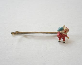 Vintage Santa Claus Saint Nick Holiday Bobby Pin - Pin up Hair Accessories Mid Century Mod Figural Bobbie Pin 1950s New Old Stock Deadstock