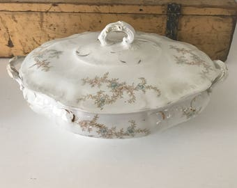 Lovely VINTAGE TRANSFERWARE TUREEN • Sprays of Pale Brown Blue Pink • Perfect For Autumn Entertaining, Decor !