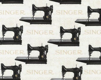 Sewing With Singer Fabric / Featherweight Sewing / Robert Kaufman 15642 ANTIQUE / Singer Featherweight Fabric by the yard & Fat Quarters