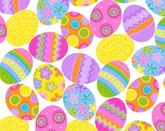 Easter Egg Fabric / Decorative Eggs, White / Spring Has Sprung / StudioE 3902-1 / Easter Yardage, Easter Fabric by the yard, Fat Quarter