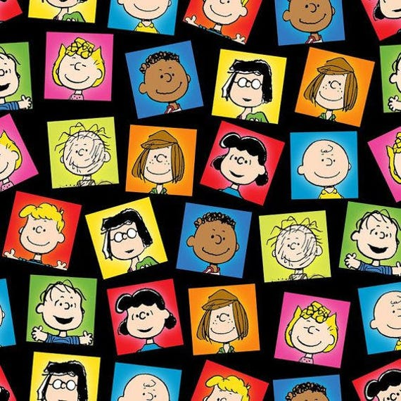 Happiness Is Peanuts Character Patch On Black Quilting
