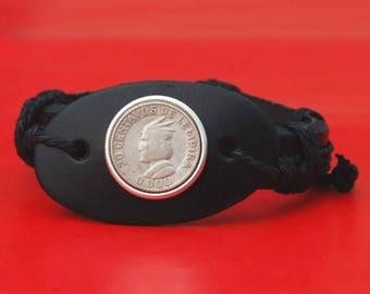 1931 ~ 1958 Honduras 20 Centavos 90% Silver Coin Genuine Black Leather Cuff Bangle Wristband Bracelet NEW - Chief Lempira