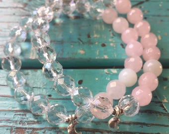 Love You To the Moon | Quartz Crystal, Rose Quartz, Moonstone + Silver Crescent Moon | Reiki Infused | Yoga + Meditation | Mala Bracelet