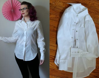 SALE Vintage White Western Style Shirt with Spangles 1960's Handmade Thin Silk Blend Western Style Shirt with Pearl Snap Buttons Womens S-M