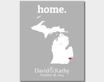 Michigan Art Map Michigan Map Michigan Wall Art Bridal Shower Centerpiece 20 Year Anniversary Gift Custom Map Print Boyfriend Anniversary