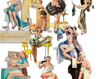 30%OFF Pin Up Girls Printable Digital Collage Sheet Greeting cards Vintage Paper Craft Buy 2 Get 1 FREE