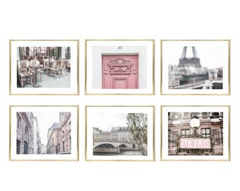 Paris Photography // Gallery Wall Art Set // Living Room Decor // Wall Prints For Her // Pink Wall Art // French Decor // Pink Prints