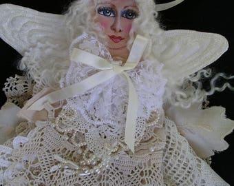 1 lace Cloth Art Doll/ Shabby Chic angel/ Cloth Doll Angel/ Shabby Chic cloth angel