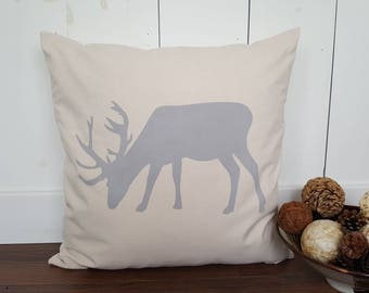 Stag Pillow Cover. Burlap Pillow Cover.  Zipper Enclosure. Stag Eating Grass Pillow.