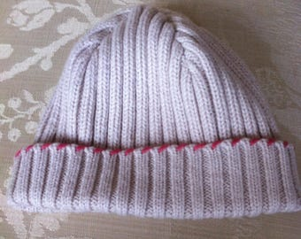 very pale pink color kids knit hat