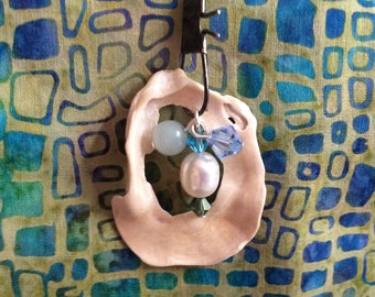 Shell Pendant + Amazonite + Freshwater Pearl + crystal beads