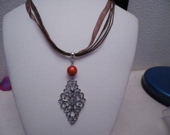 Necklace made of organza and Brown threads with pendants