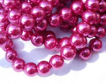 50 10 mm fuschia pink glass pearl beads