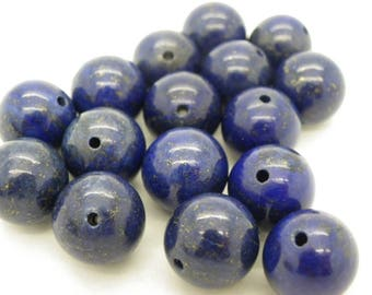 4 beads 14 mm with Lapiz lazuli blue 14mm