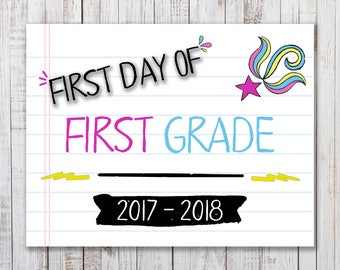 Printable  First Day of School Sign,  Back to School Printable, Girls Photo Prop, First Grade Sign, Back to School Photo Prop, 1st