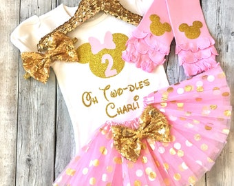 Personalized pink and gold Oh Twodles minnie mouse 2nd birthday outfit, Minnie mouse second birthday shirt, pink gold minnie mouse birthday
