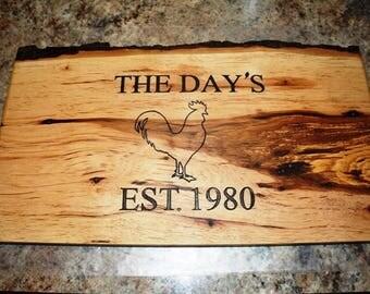 Hickory Cutting Board, Cutting Board, Live Edge Cutting Board, Rustic Cutting Board, Engravable Cutting Board