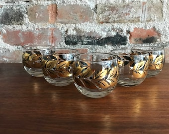 Gold and Black Leaf Design Roly Poly - Set of 5
