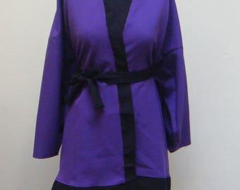 Top purple & Black kimono with belt