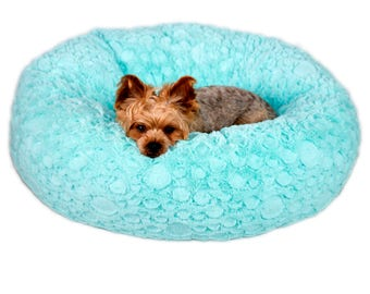 CARIBBEAN AQUA PLUSH:  Ultra Plush Soft Cuddle Pet Bed, Dog Bed, Cat Bed, Pet Furniture for Dog or Cat, Small and Medium Pet Bed