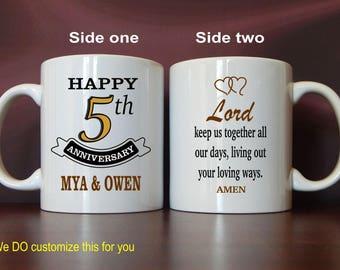 5th Anniversary Marriage Prayer Mug Gift for New Weds, Custom Coffee Mugs for the Couple, Mugs for Wife - Husband, MAC011