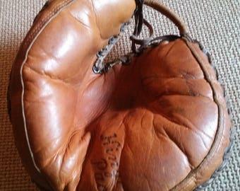 Vintage - 1950s Denkert Catchers Mitt - Ed Bailey Model - Leather Baseball Glove