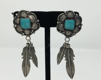 Native American Sterling Silver and Natural Carico Lake Turquoise Handmade Navajo Earring with Feather Dangles