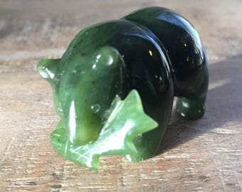 True Vintage Jade Bear with Salmon Fish in Mouth | Small Bear Figurine | Fisherman gifts | Fishing home gifts #TrueVintage #Jade #Flashsale
