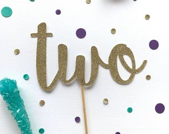 Two glitter cake topper, birthday party decor , second birthday