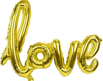 Gold Love Balloon - Bridal Shower Balloon - Wedding Balloon Decorations