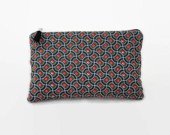 "flat pouch fabric ethnic style wax ""waves orange dots"""