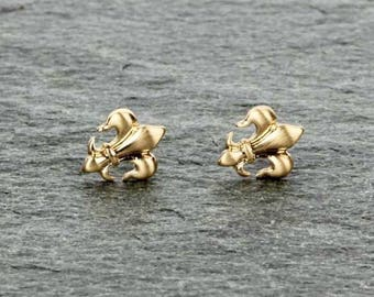 Petite Fleur De Lis Earrings (Gold)