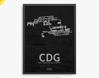 CDG Airport, Charles de Gaulle Airport, Paris France, CDG Airport Poster, Paris Airport, Paris, Paris International, France, CDG Poster