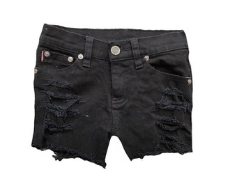 Girl black distressed jean shorts Distressed denim Black shorts Girl shorts Girls clothes Cool kid clothes Size 6/7 Black jean shorts Shredd