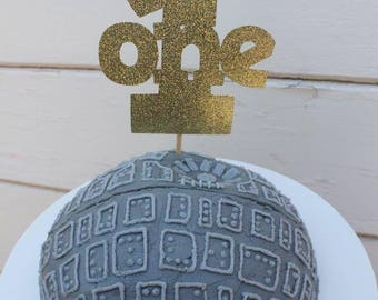 Glitter Cake Topper // First Birthday // Glitter Paper // Number One Topper // Gold Glitter // block letters