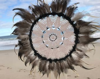 Black and brown toned  Feather dreamcatcher boho wall hanging