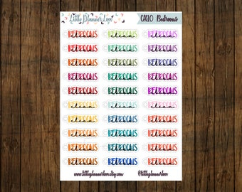 Clean Bedrooms Multi-Color Word Planner Stickers for all Planners