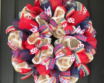 Patriotic wreath - 4th of july wreath - patriotic decor - burlap patriotic wreath - patriotic - 4th of july decor - patriotic front door