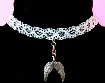 White Lace Choker With Angel Wings