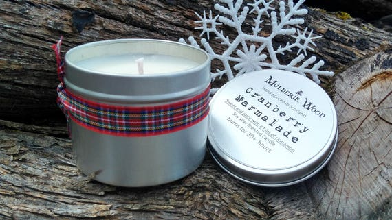 Hand Poured Cranberry Marmalade CHRISTMAS Natural Soy Wax Tin Candle