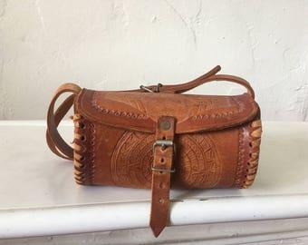 Vintage Tooled Leather Cylinder Bag - Rustic Tool Leather Handbag - Boho Hippie Leather Purse - Southwestern Tribal Bag - Cross Body 60s Bag